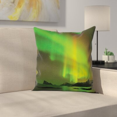Northern Lights Tranquil View Cushion Pillow Cover Size: 16 x 16