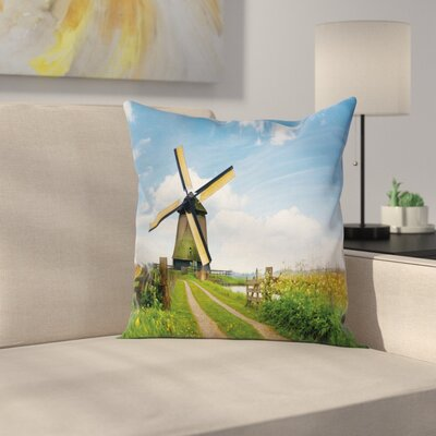 Windmill Decor Holland Spring Square Pillow Cover Size: 16 x 16