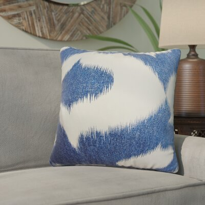 Ternate Ikat Cotton Throw Pillow Color: Blue Denim