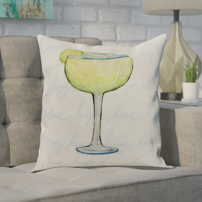 Crosswhite Margarita Text Fade Happy Hour Print Indoor/Outdoor Throw Pillow Color: Light Green, Size: 16 x 16