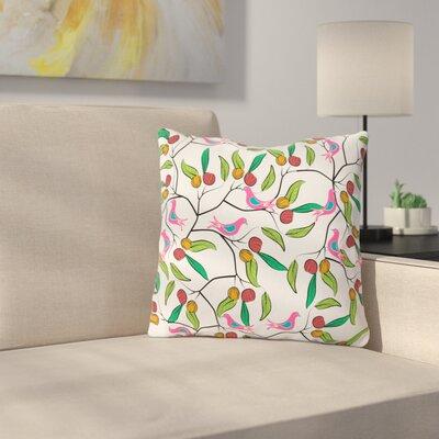 Birds World by Famenxt Throw Pillow Size: 16 H x 16 W x 3 D