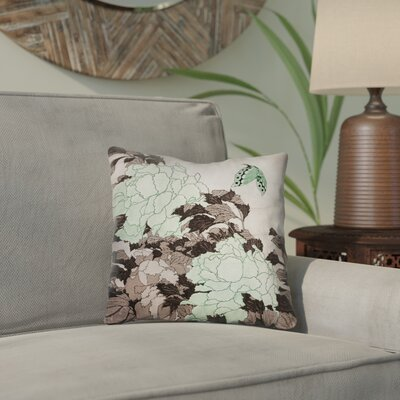 Clair Peonies with Butterfly Square Throw Pillow Color: Green, Size: 18 x 18