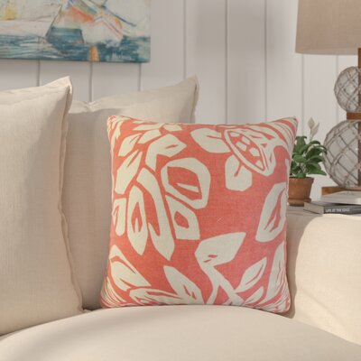 Eswer Foral Cotton Throw Pillow Color: Coral