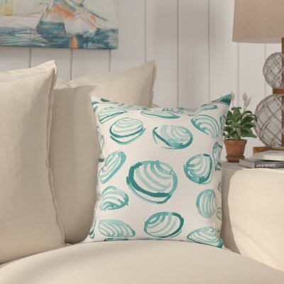 Cedarville Clams Geometric Print Outdoor Throw Pillow Size: 18 H x 18 W, Color: Aqua