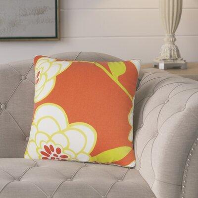 Popovich Floral Cotton Throw Pillow Color: Orange