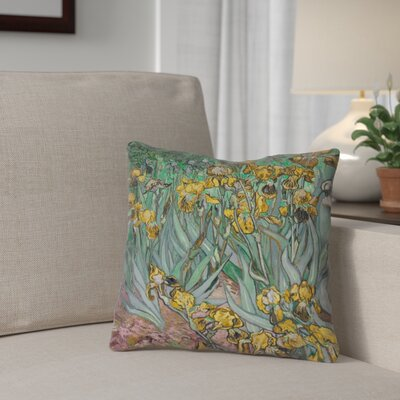 Bristol Woods Irises 100% Cotton Throw Pillow Color: Yellow, Size: 16 x 16