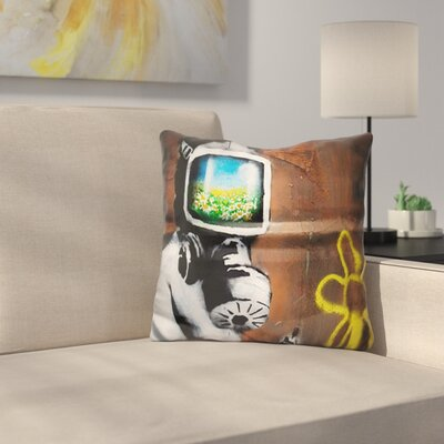 Sunflower Field Gas Mask Throw Pillow