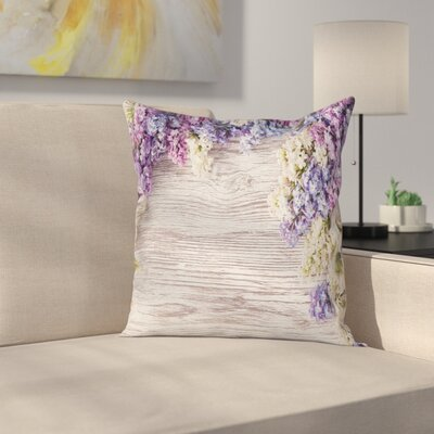 Rustic Lilac Flowers Bouquet Square Pillow Cover Size: 24 x 24