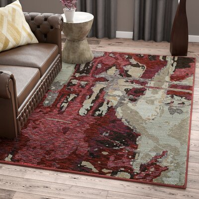 Knox Bordeaux Red/Beige Area Rug Rug Size: Rectangle 53 x 73