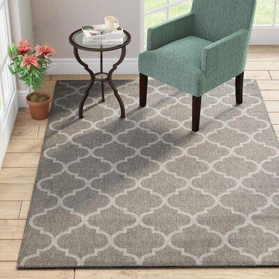 Emma Trellis Power Loom Dark Gray Indoor/Outdoor Area Rug Rug Size: 53 X 73