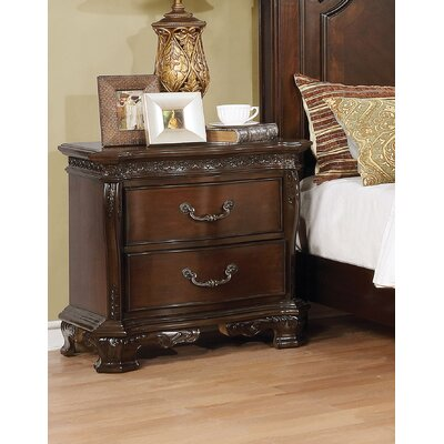 Rishel 2 Drawer Nightstand Color: Brown Cherry