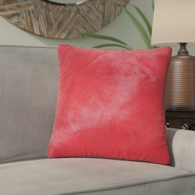 Graham Modern Square Hand Woven Cowhide Throw Pillow Color: Firecracker