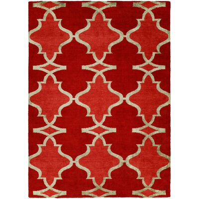 Viraj Hand Knotted Wool Red Area Rug Rug Size: Rectangle 6' x 9'