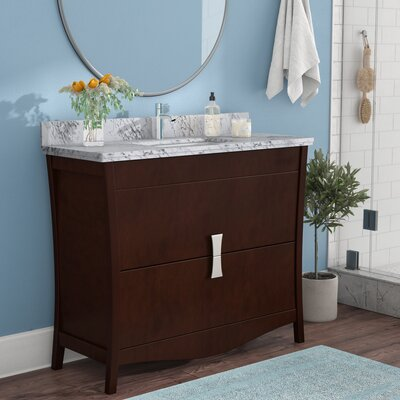 Cataldo Floor Mount 48 Single Bathroom Vanity Set with Single Hole Faucet Mount Base Finish: Coffee, Top Finish: Bianca Carara, Sink Finish: Biscuit