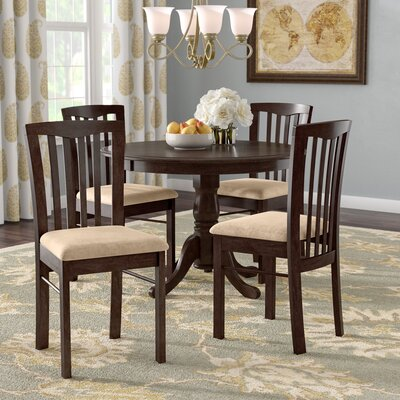Bonenfant 5 Piece Dining Set Finish: Cappuccino, Chair Upholstery: Microfiber