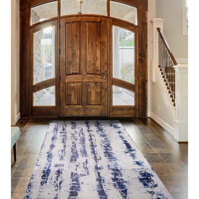 Calm Step Memory Foam Blue Area Rug Rug Size: Rectangle 23 x 39