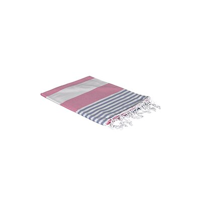 Turkish Beach Towel Color: Pink/Navy