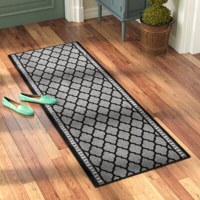 Aluin Doormat Rug Size: Runner 22x 6, Color: Black/Gray