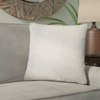 Graham Modern Square Hand Woven Cowhide Throw Pillow Color: White