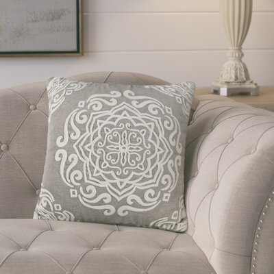 Lucile Embroidered Cotton Throw Pillow Color: Gray