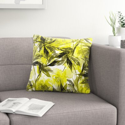 Ebi Emporium Floral Fiesta Floral Painting Outdoor Throw Pillow Size: 16 H x 16 W x 5 D, Color: Yellow/Gray
