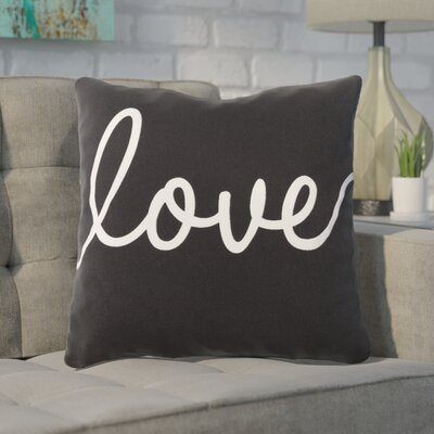 Carnell Love Cotton Throw Pillow Color: Black/ White