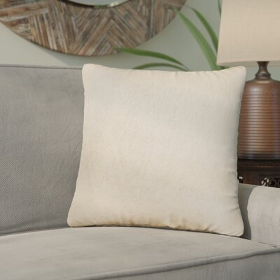 Graham Modern Square Hand Woven Cowhide Throw Pillow Color: Tan