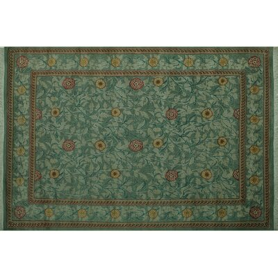 One-of-a-Kind Mulhall Hand-Knotted Wool Green/Pink Area Rug