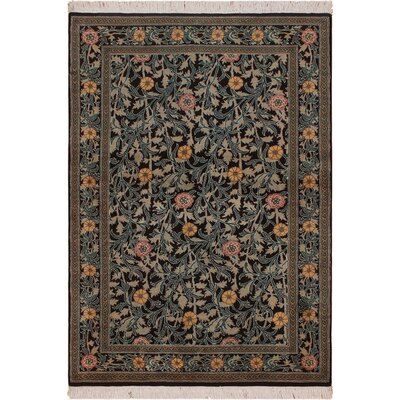 One-of-a-Kind Mulhall Hand-Knotted Wool Black/Pink Area Rug Rug Size: Rectangle 42 x 63