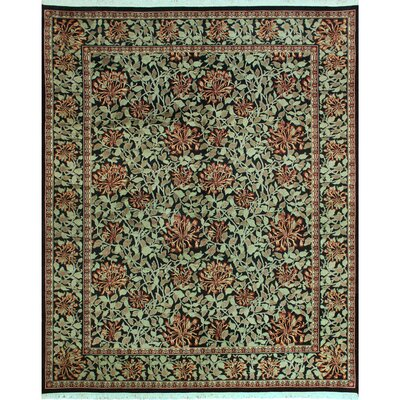 One-of-a-Kind Mulhall Floral Hand-Knotted Wool Black/Green Area Rug Rug Size: Rectangle 82 x 107
