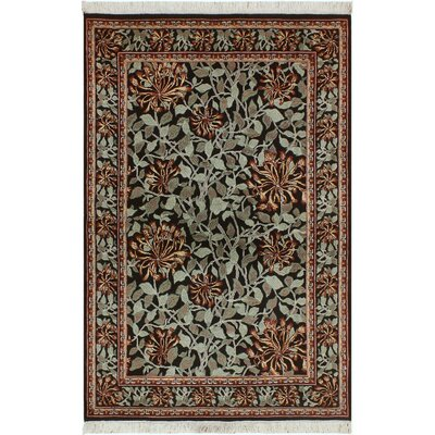One-of-a-Kind Mulhall Floral Hand-Knotted Wool Black/Green Area Rug Rug Size: Rectangle 41 x 62