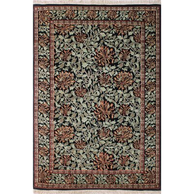 One-of-a-Kind Mulhall Floral Hand-Knotted Wool Black/Green Area Rug Rug Size: Rectangle 62 x 91