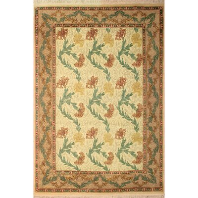 One-of-a-Kind Mulhall Carnation Hand-Knotted Wool Ivory/Tan Area Rug Rug Size: Rectangle 81 x 103