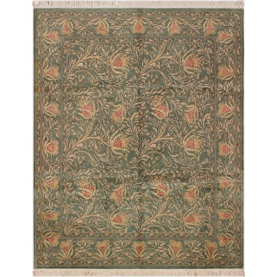 One-of-a-Kind Mulhall Hand-Knotted Wool Green/Beige Area Rug
