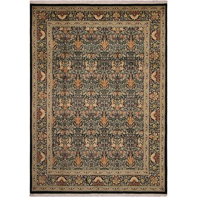One-of-a-Kind Mulhall Hand-Knotted Wool Black/Green Area Rug