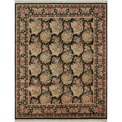 One-of-a-Kind Mulhall Hand-Knotted Wool Black/Pink Area Rug Rug Size: Rectangle 92 x 124