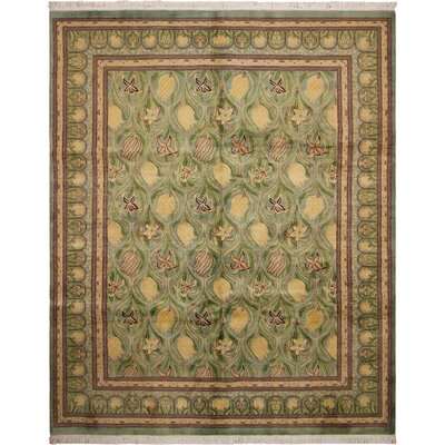 One-of-a-Kind Mulhall Tulip Hand-Knotted Wool Green/Gold Area Rug