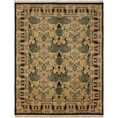 One-of-a-Kind Mulhall Hand-Knotted Wool Tan/Black Area Rug Rug Size: Rectangle 91 x 121