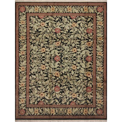 One-of-a-Kind Mulhall Hand-Knotted Wool Black/Red Area Rug