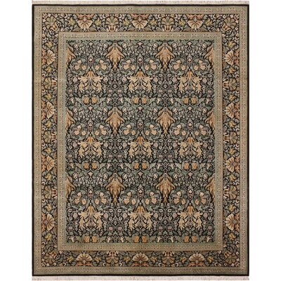 One-of-a-Kind Mulhall Hand-Knotted Wool Black/Green Area Rug Rug Size: Rectangle 711 x 1010