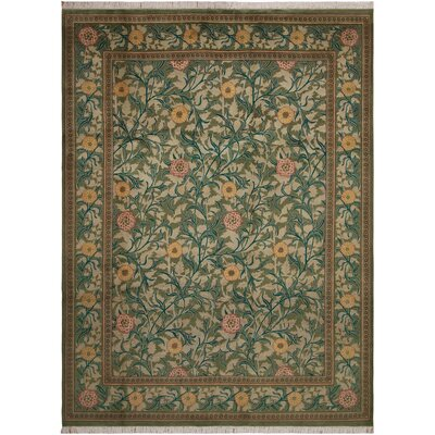One-of-a-Kind Mulhall Hand-Knotted Wool Green/Pink Area Rug Rug Size: Rectangle 46 x 7
