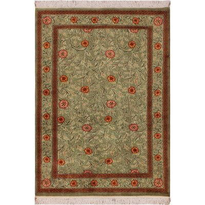 One-of-a-Kind Mulhall Hand-Knotted Wool Green/Red Area Rug