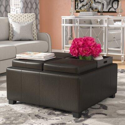 Ashton Tray Storage Ottoman Upholstery: Black