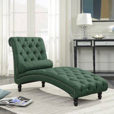 Filip Armless Chaise Lounge with Accent Nailheads Upholstery: Green