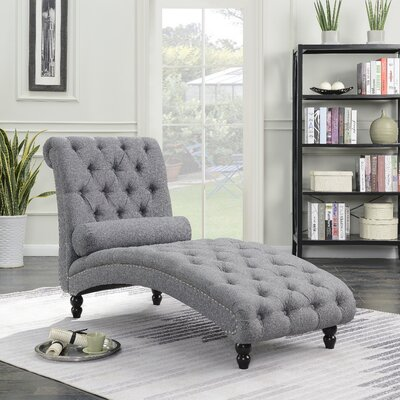 Filip Armless Chaise Lounge with Accent Nailheads Upholstery: Gray