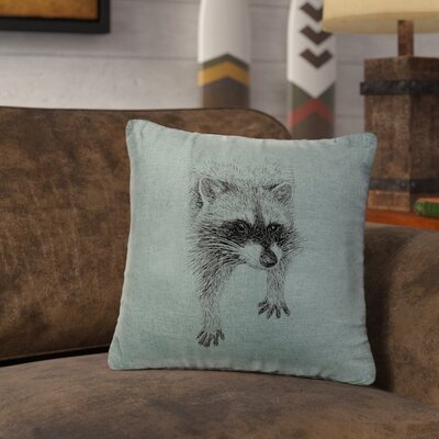 Nagata Raccoon Throw Pillow Color: Ocean
