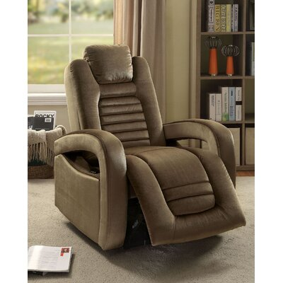Lanza USB Power Dock Power Recliner Upholstery: Brown