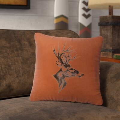 Lansford Deer Profile Throw Pillow Color: Paprika