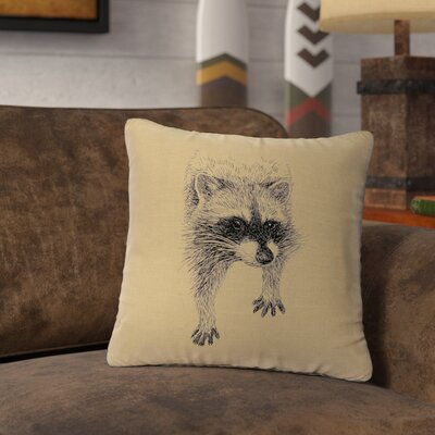 Nagata Raccoon Throw Pillow Color: Natural