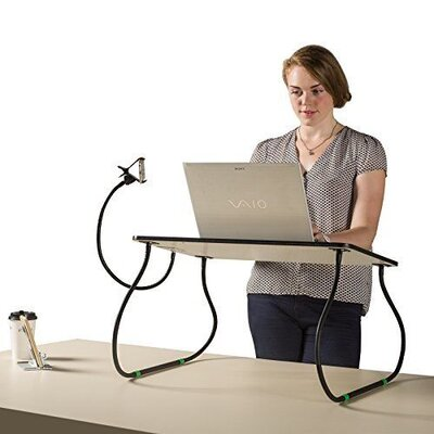 Keesee 26 Height Adjustable Computer Table with Phone Holder and Wrist Rest Pad